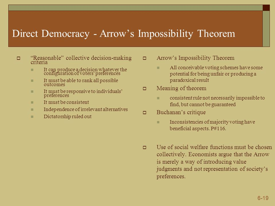 Direct Democracy - Arrow's Impossibility Theorem