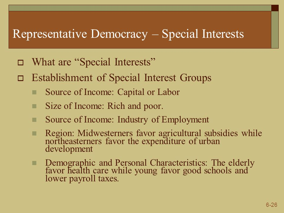 Representative Democracy – Special Interests