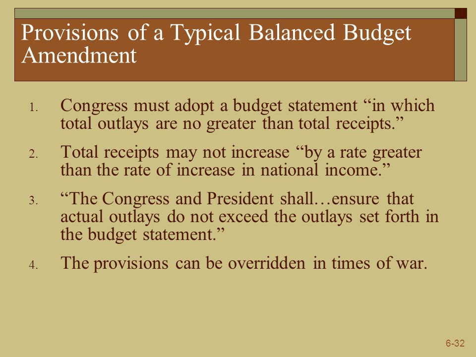 Provisions of a Typical Balanced Budget Amendment