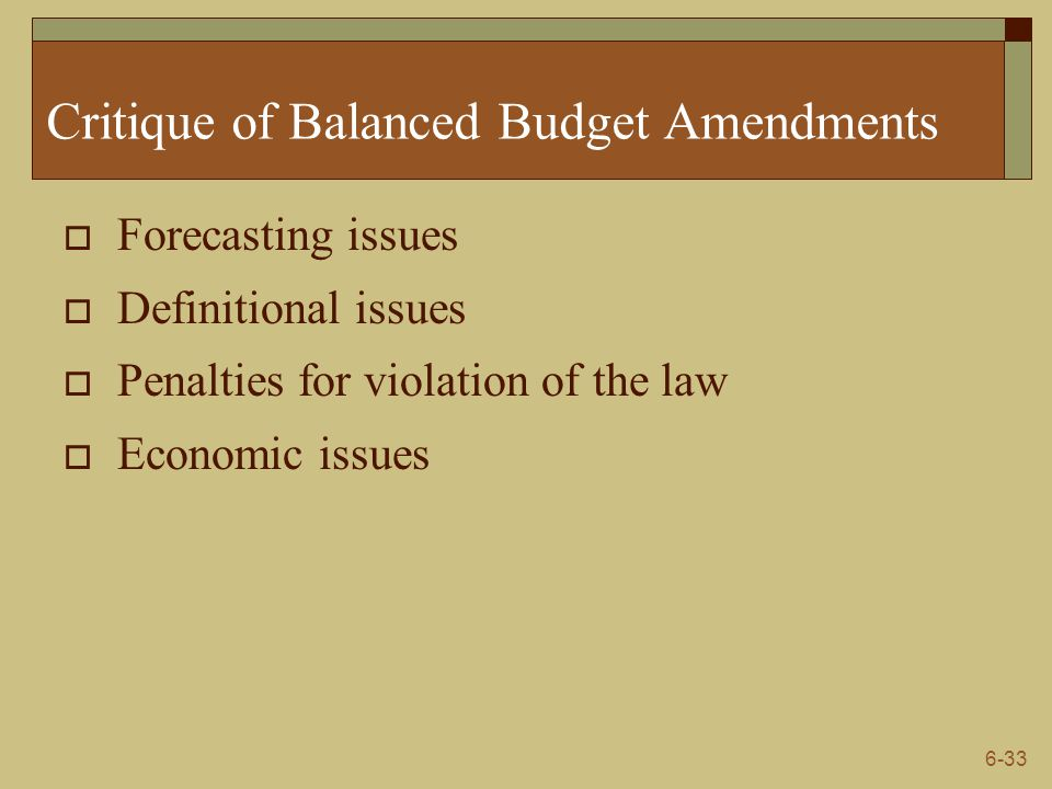 Critique of Balanced Budget Amendments