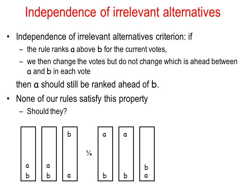 Independence of irrelevant alternatives