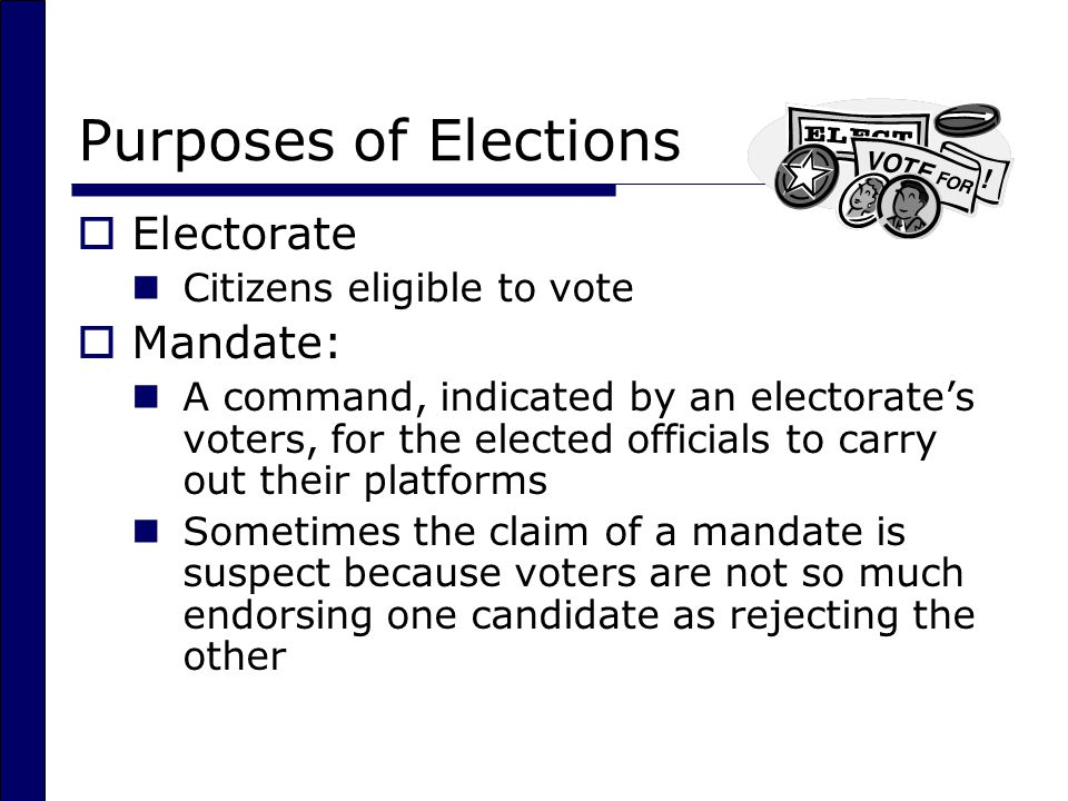 Purposes of Elections Electorate Mandate: Citizens eligible to vote