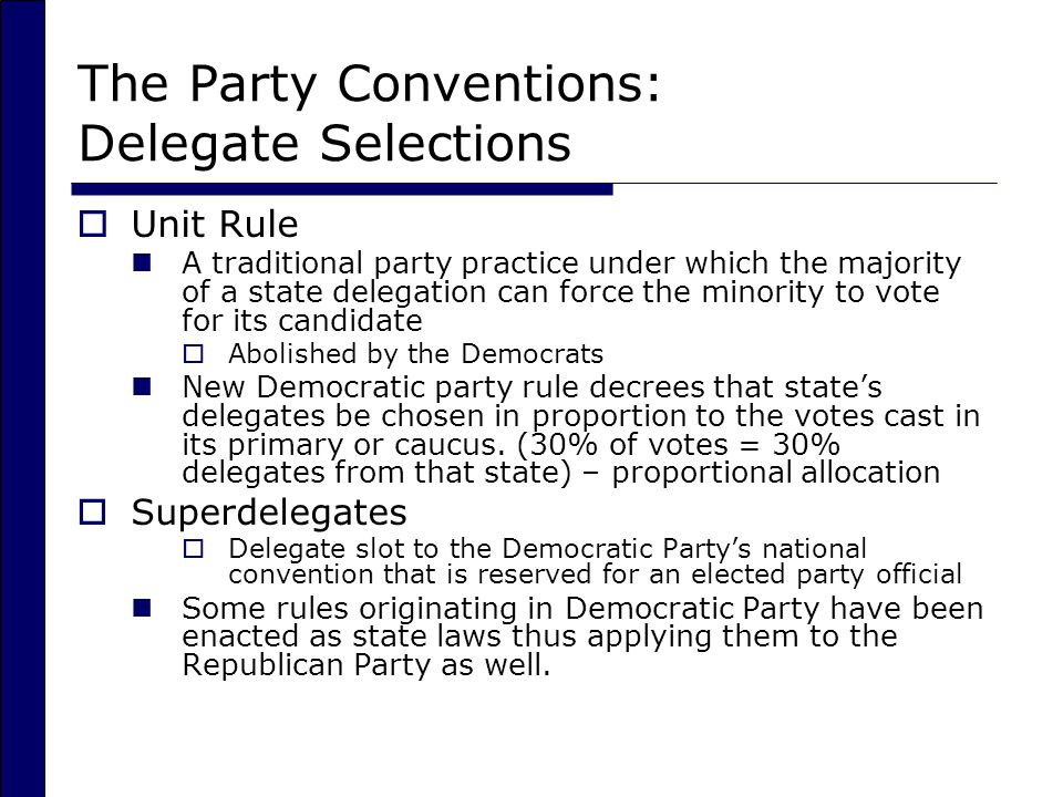 The Party Conventions: Delegate Selections