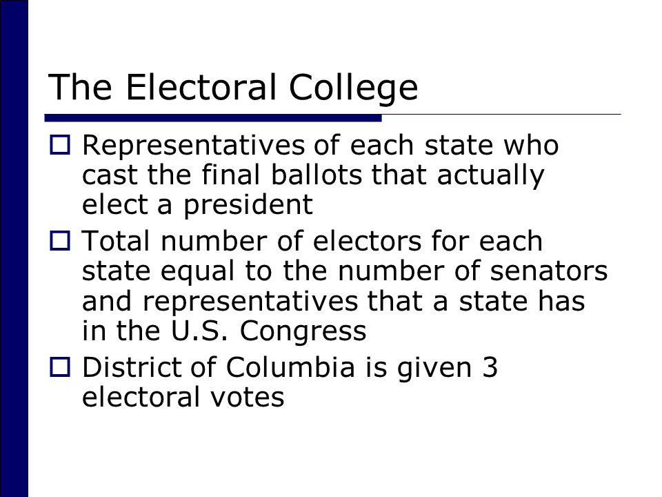 The Electoral College Representatives of each state who cast the final ballots that actually elect a president.