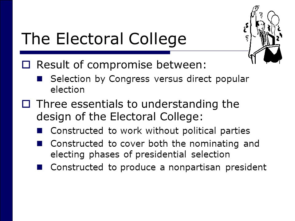 The Electoral College Result of compromise between: