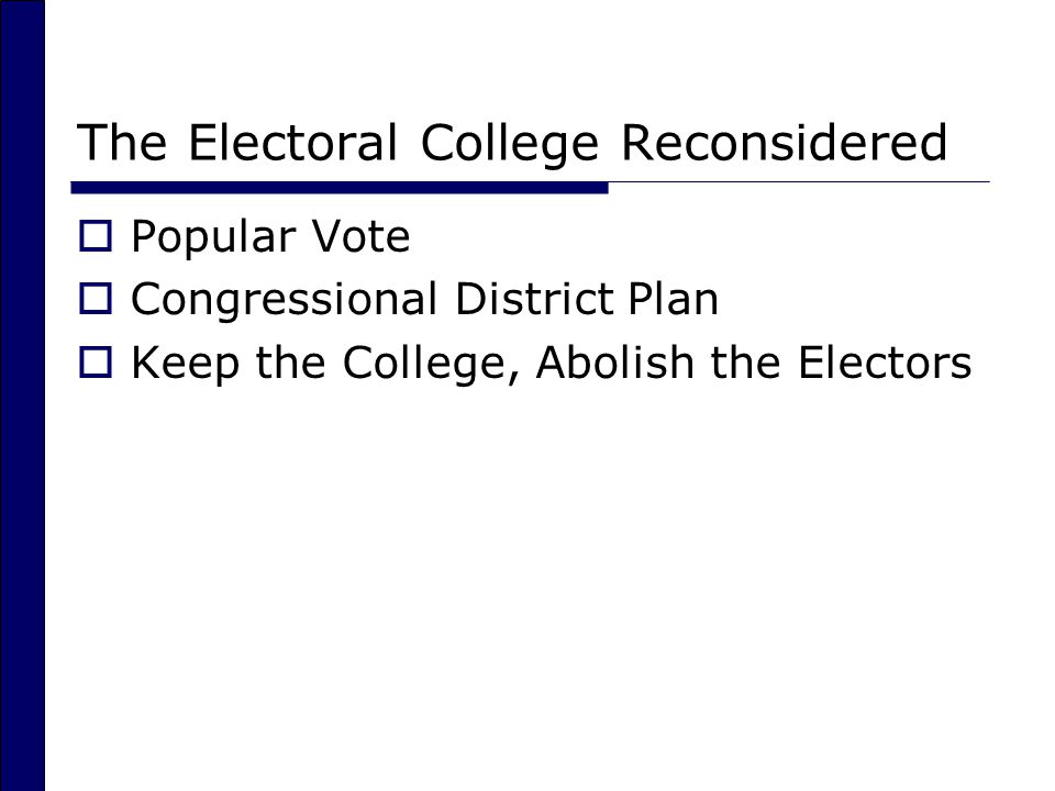 The Electoral College Reconsidered