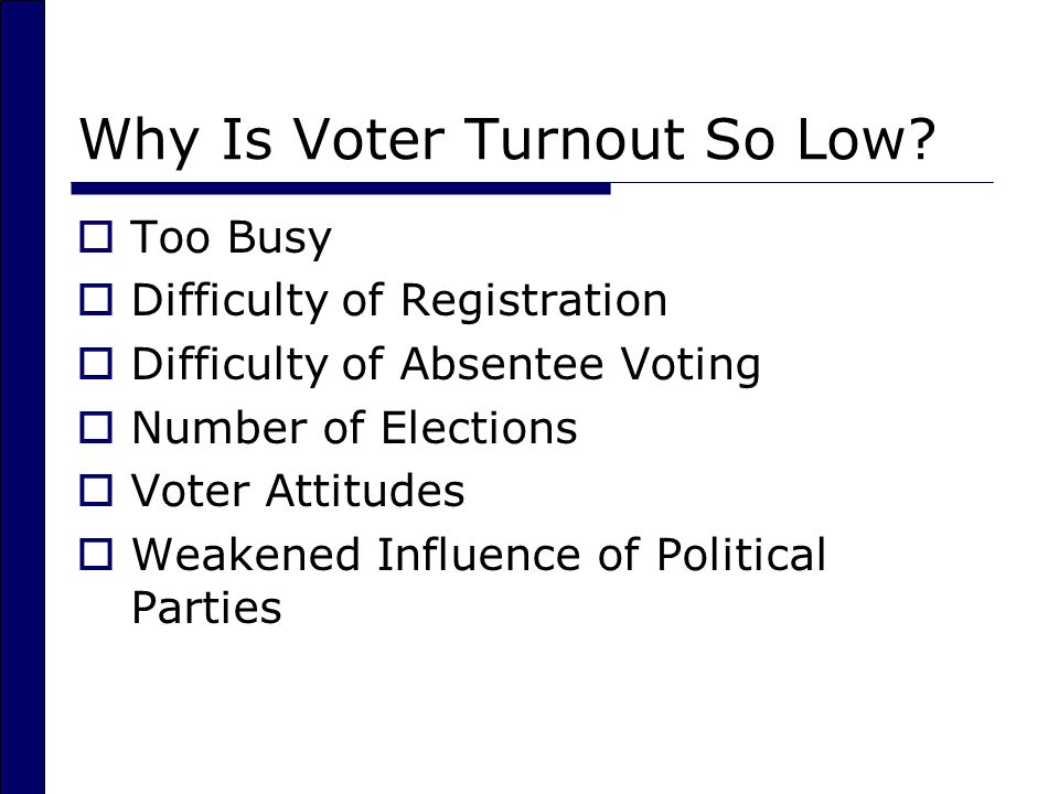 Why Is Voter Turnout So Low