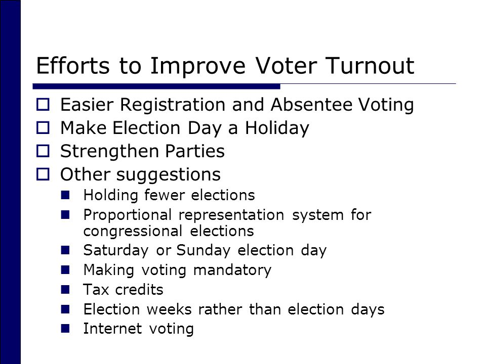 Efforts to Improve Voter Turnout
