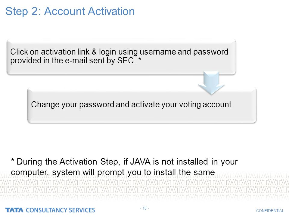 Step 2: Account Activation