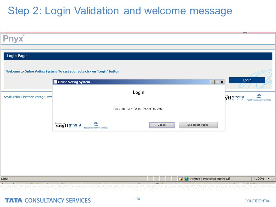 Step 2: Login Validation and welcome message