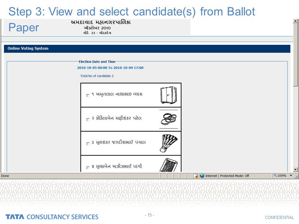 Step 3: View and select candidate(s) from Ballot Paper