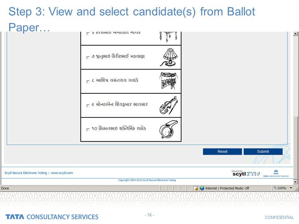 Step 3: View and select candidate(s) from Ballot Paper…