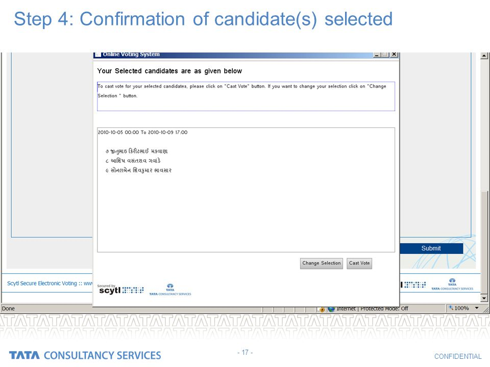 Step 4: Confirmation of candidate(s) selected