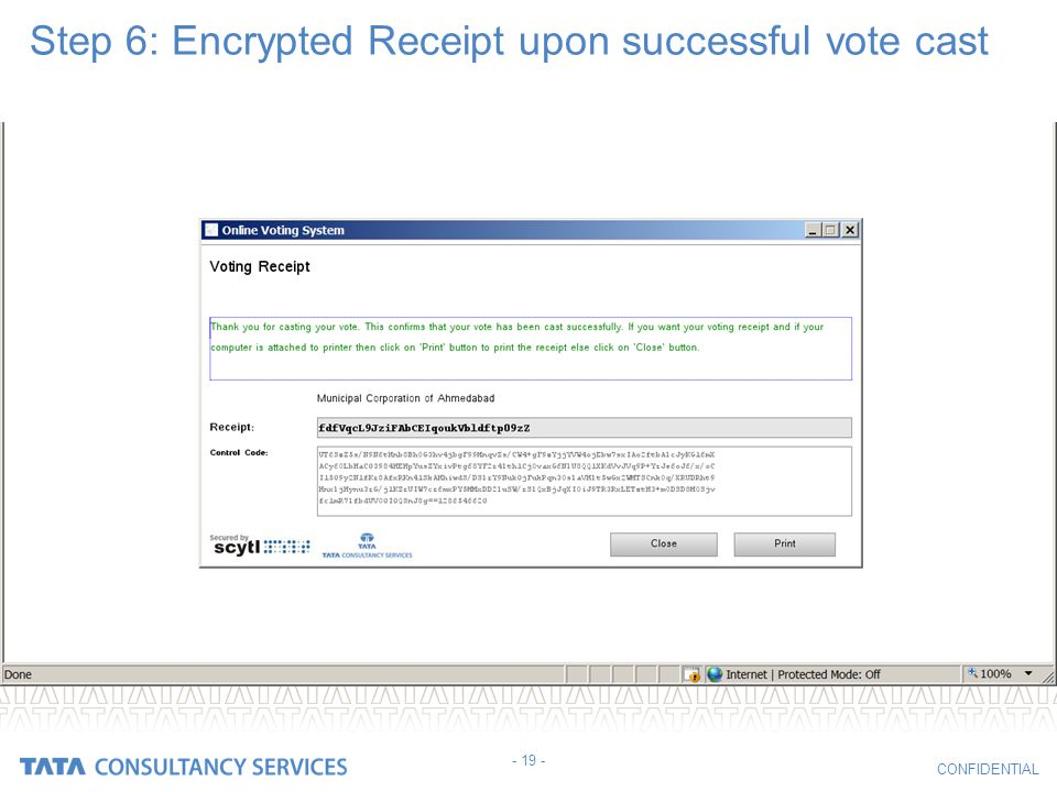 Step 6: Encrypted Receipt upon successful vote cast