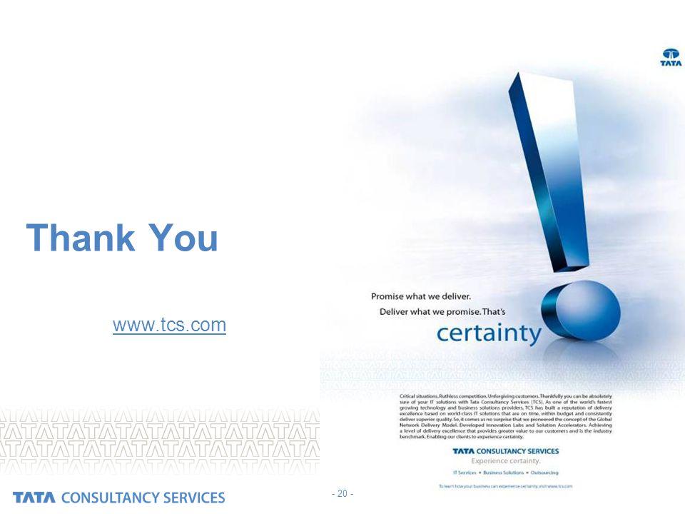 Thank You Visit us at www.tcs.com - 20 - 20