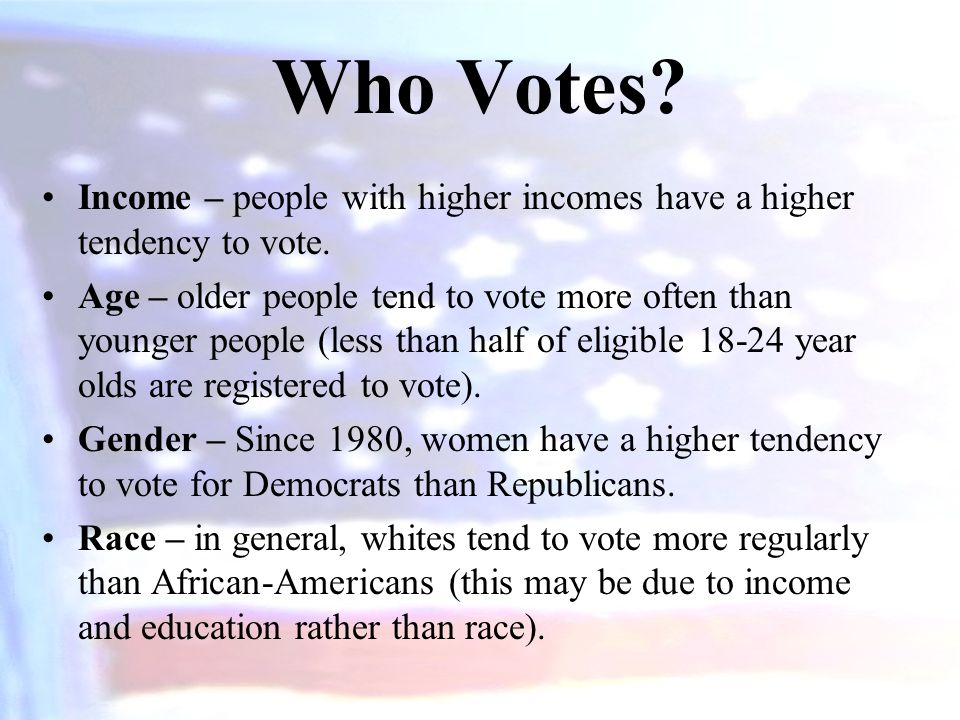 Who Votes Income – people with higher incomes have a higher tendency to vote.