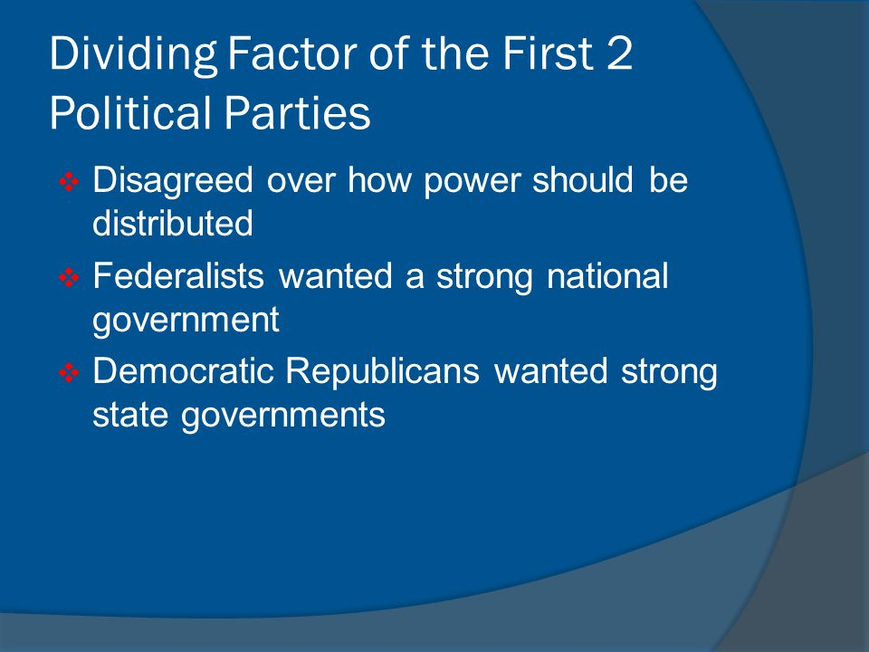 Dividing Factor of the First 2 Political Parties