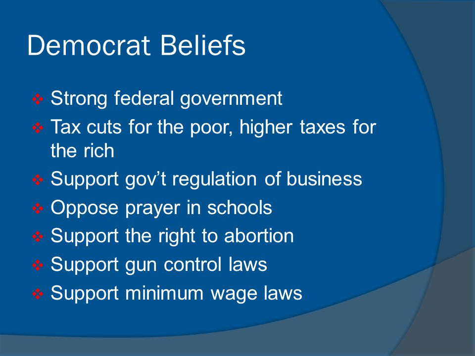 Democrat Beliefs Strong federal government