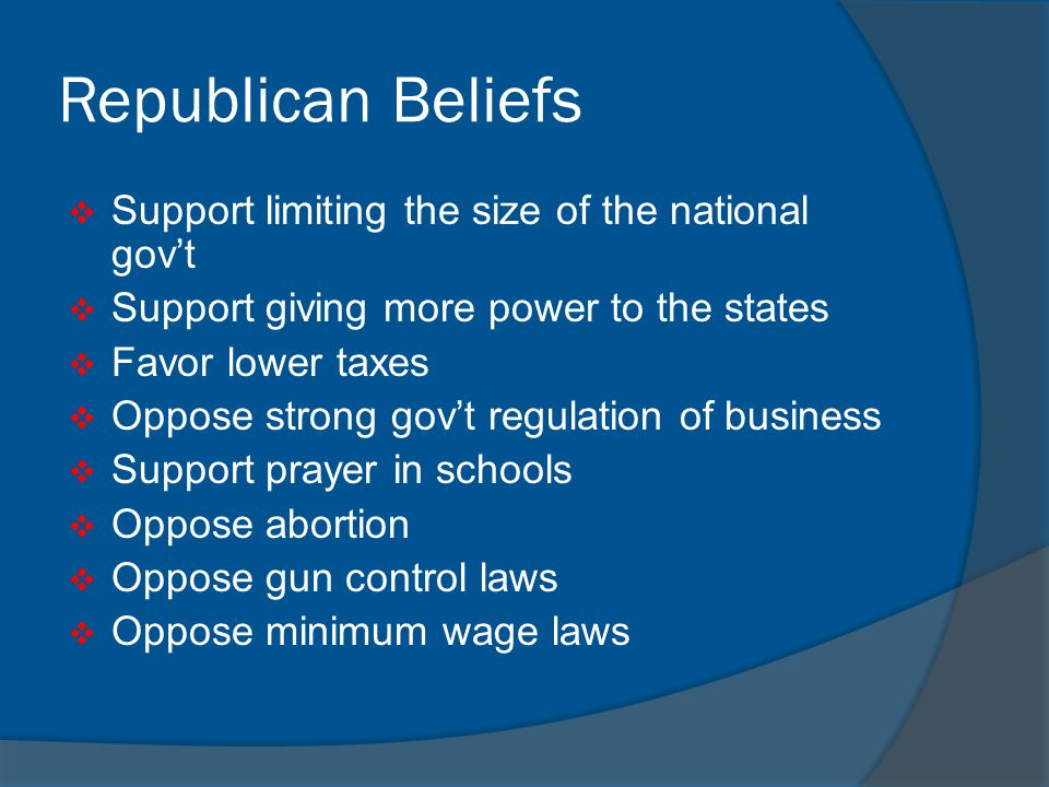 Republican Beliefs Support limiting the size of the national gov't