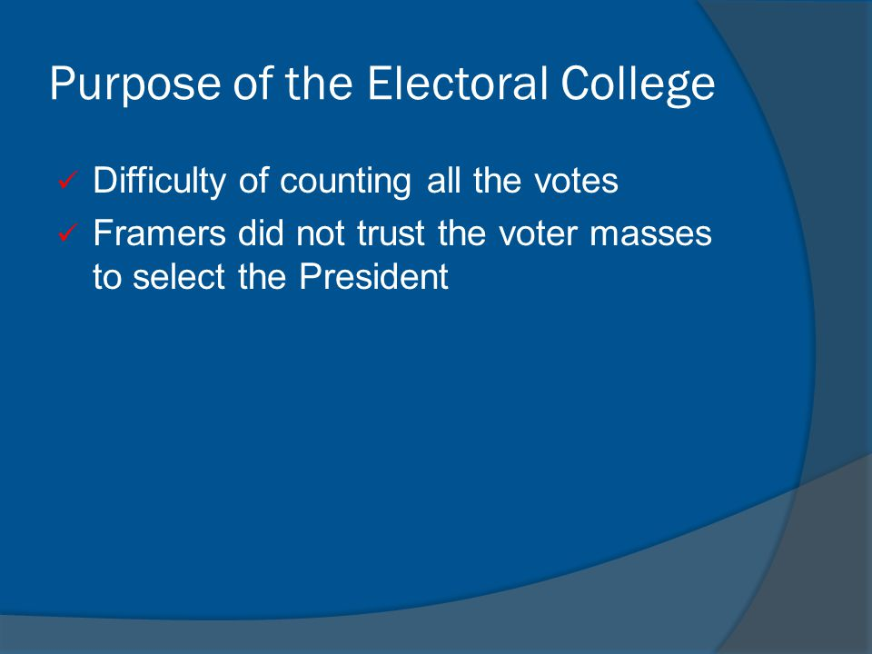 Purpose of the Electoral College