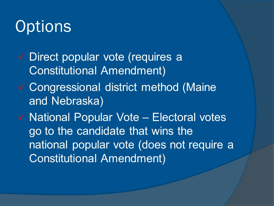 Options Direct popular vote (requires a Constitutional Amendment)