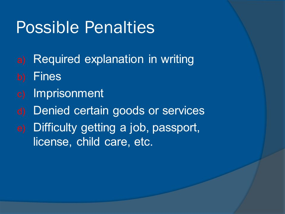 Possible Penalties Required explanation in writing Fines Imprisonment
