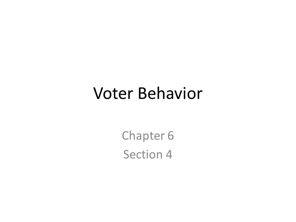 Voter Behavior Chapter 6 Section 4