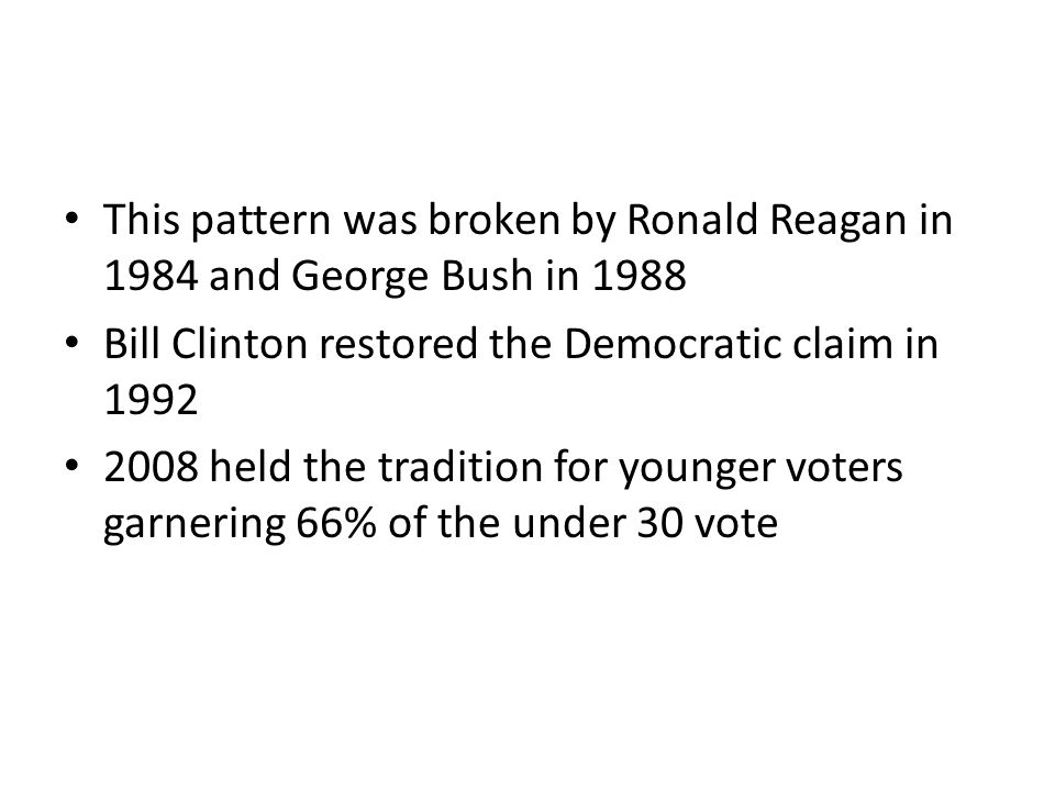 This pattern was broken by Ronald Reagan in 1984 and George Bush in 1988