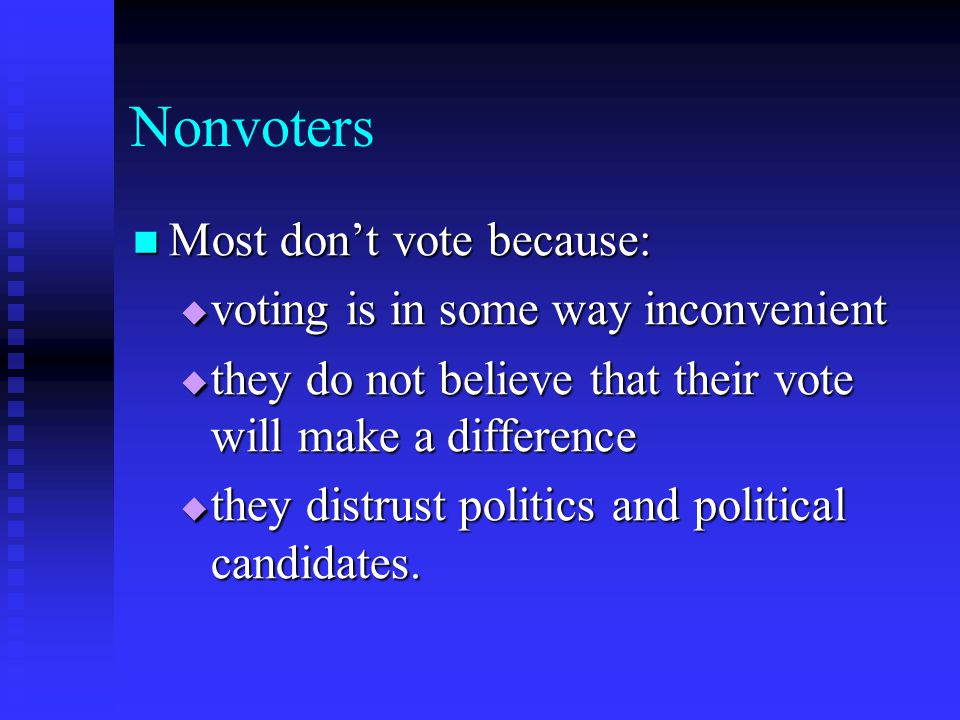 Nonvoters Most don't vote because: voting is in some way inconvenient