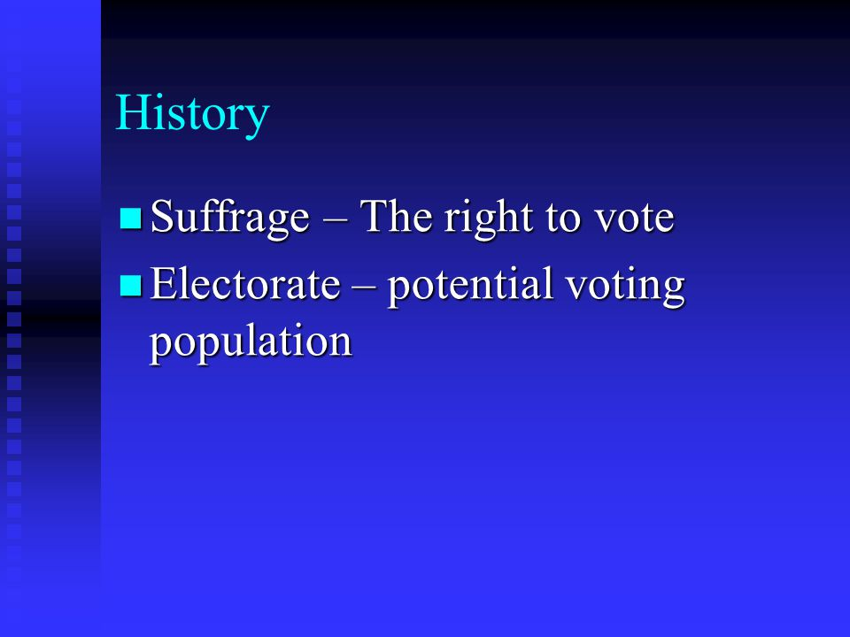 History Suffrage – The right to vote