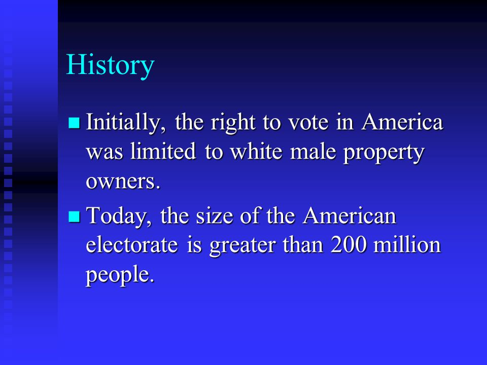 History Initially, the right to vote in America was limited to white male property owners.