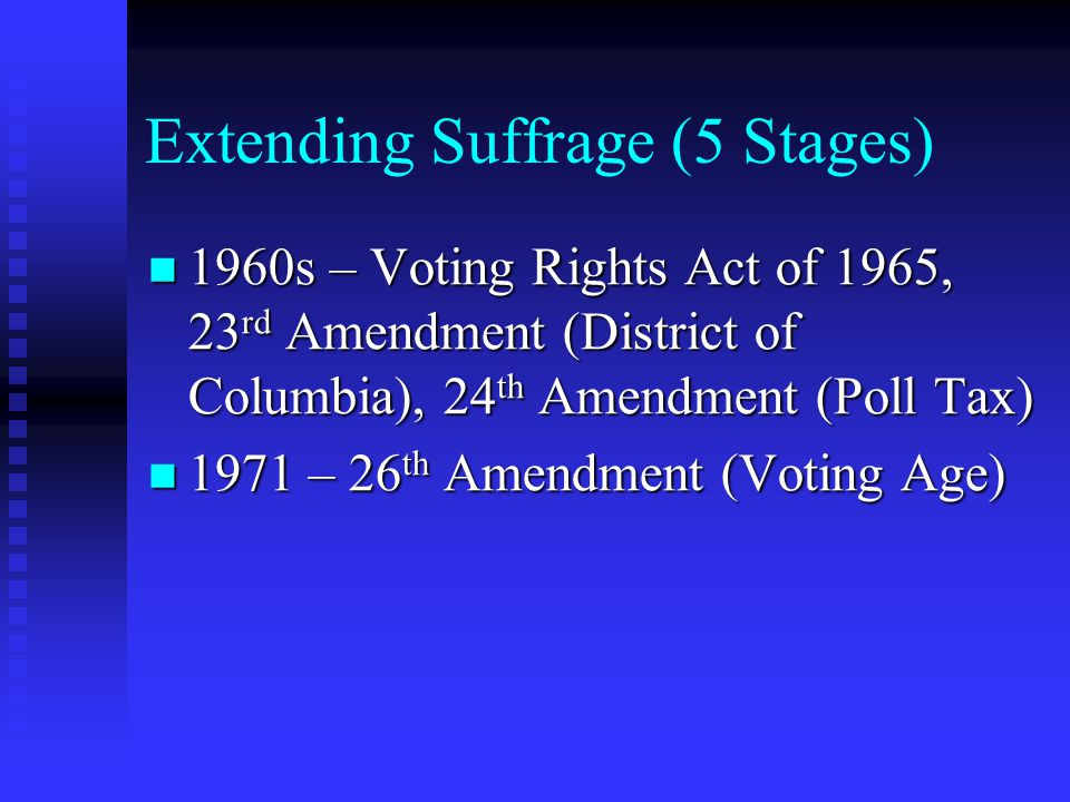 Extending Suffrage (5 Stages)