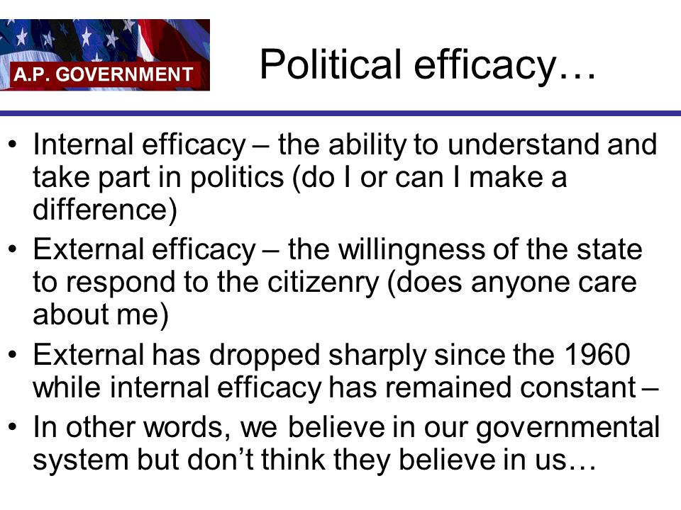 Political efficacy… Internal efficacy – the ability to understand and take part in politics (do I or can I make a difference)