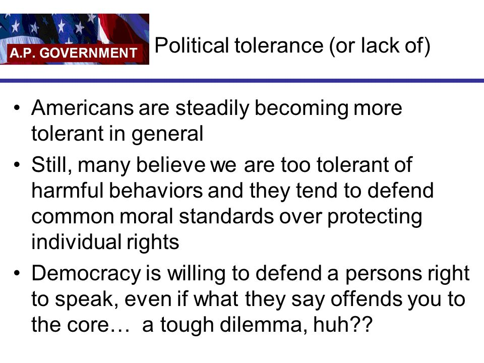 Political tolerance (or lack of)