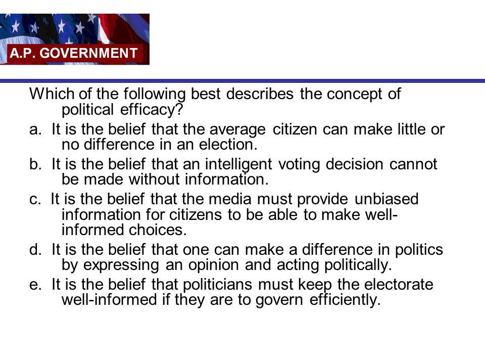 Which of the following best describes the concept of political efficacy