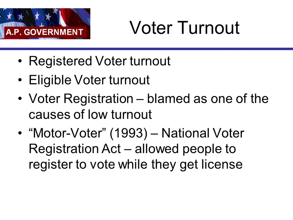 Voter Turnout Registered Voter turnout Eligible Voter turnout