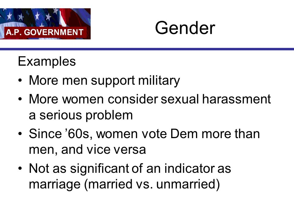 Gender Examples More men support military