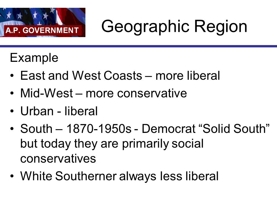 Geographic Region Example East and West Coasts – more liberal