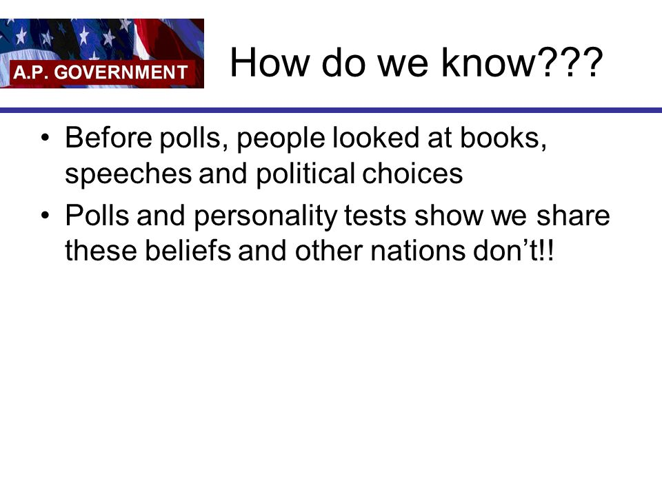 How do we know Before polls, people looked at books, speeches and political choices.
