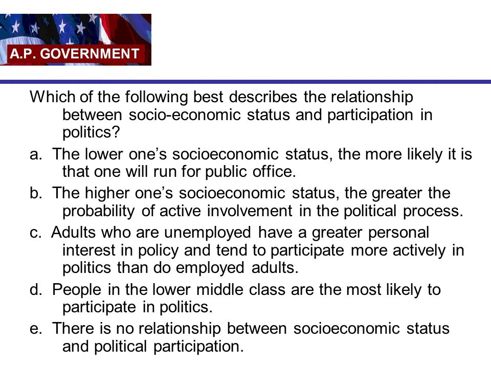 Which of the following best describes the relationship between socio-economic status and participation in politics