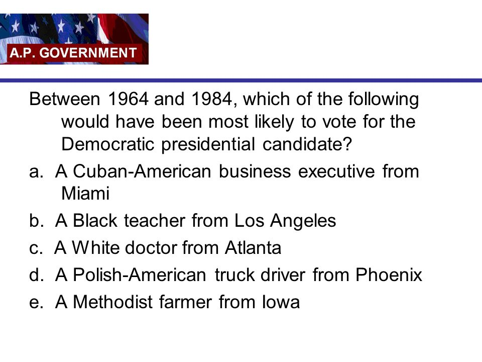 Between 1964 and 1984, which of the following would have been most likely to vote for the Democratic presidential candidate