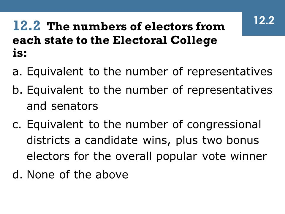 12.2 12.2 The numbers of electors from each state to the Electoral College is: Equivalent to the number of representatives.