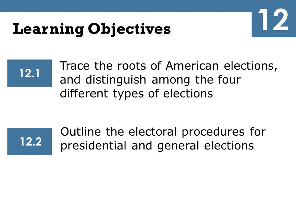 12 Learning Objectives. Trace the roots of American elections, and distinguish among the four different types of elections.