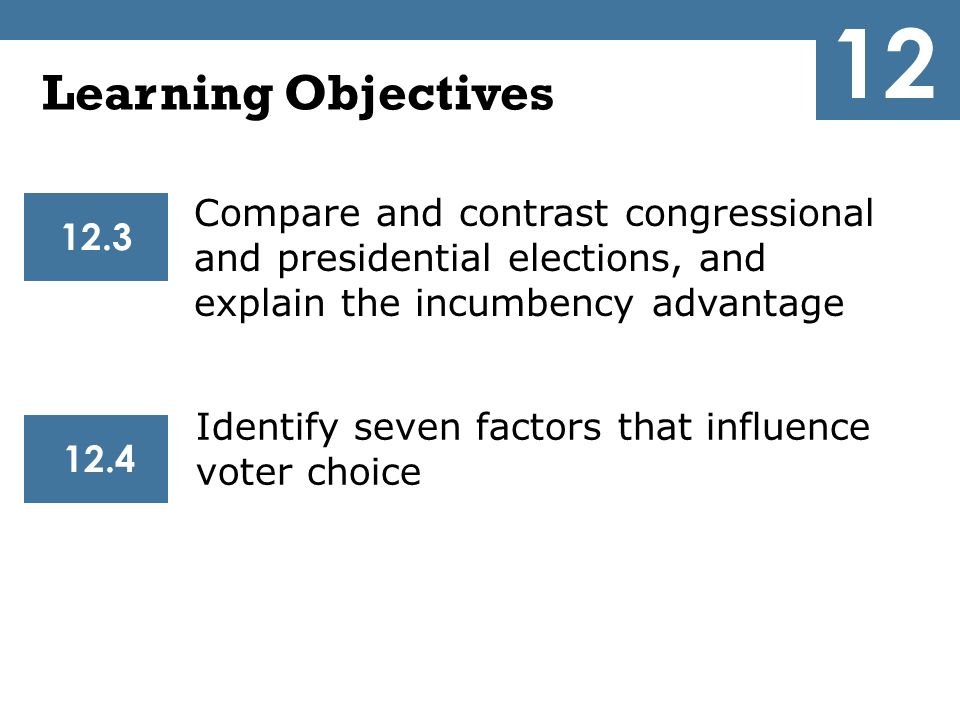 12 Learning Objectives. Compare and contrast congressional and presidential elections, and explain the incumbency advantage.