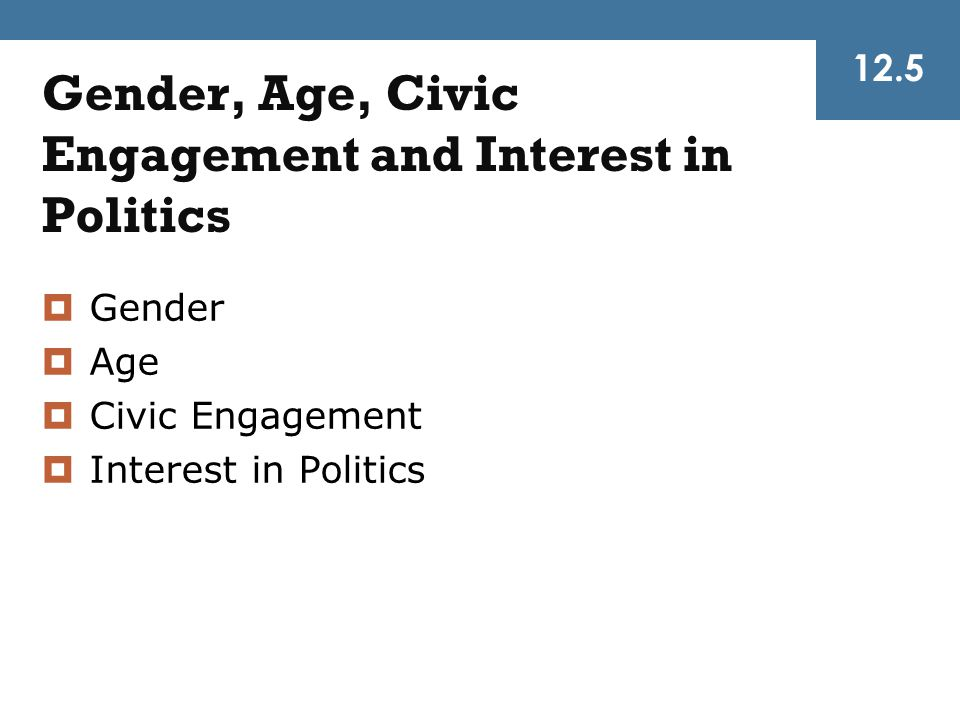 Gender, Age, Civic Engagement and Interest in Politics