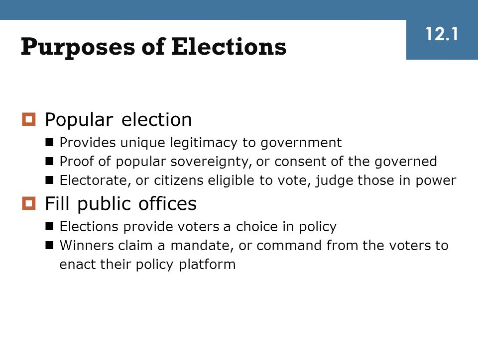 Purposes of Elections 12.1 Popular election Fill public offices