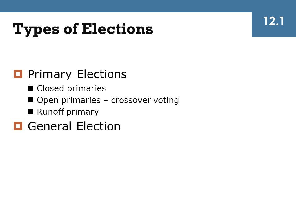 Types of Elections 12.1 Primary Elections General Election