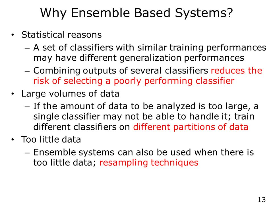 Why Ensemble Based Systems