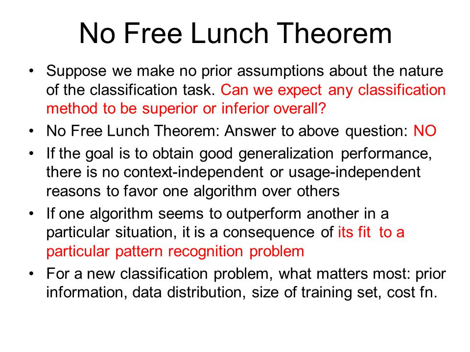 No Free Lunch Theorem It is the assumptions about the learning algorithm that are important.