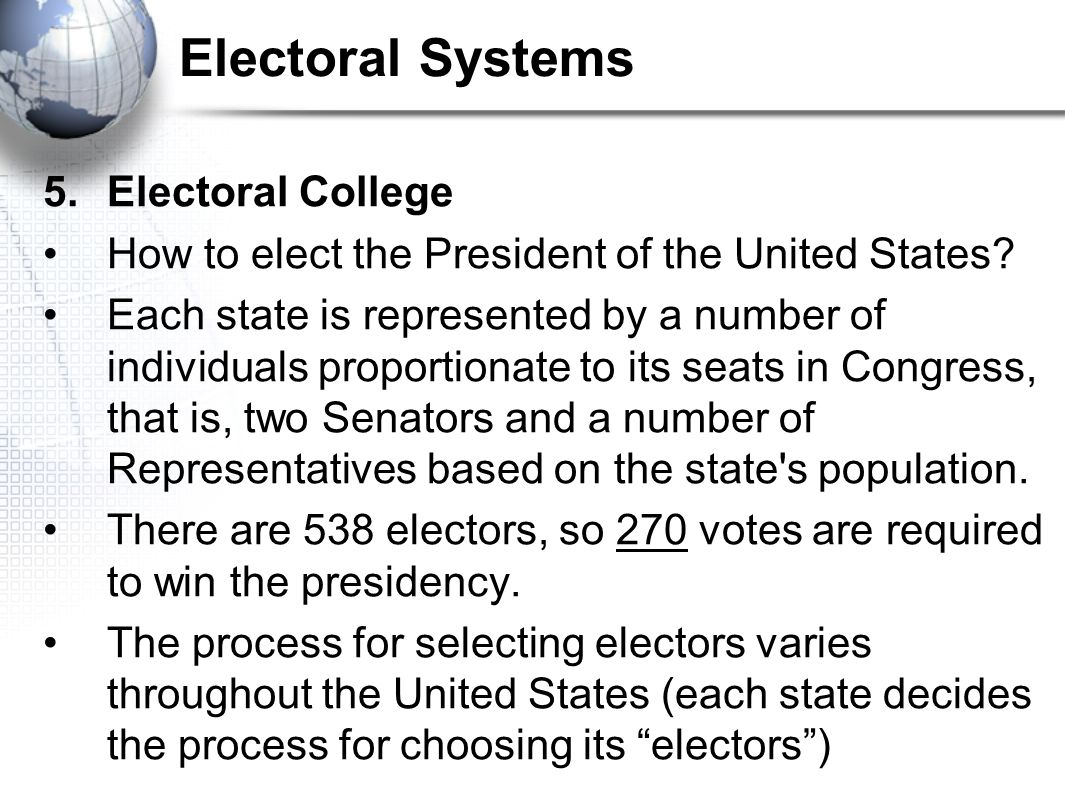 Electoral Systems 5. Electoral College